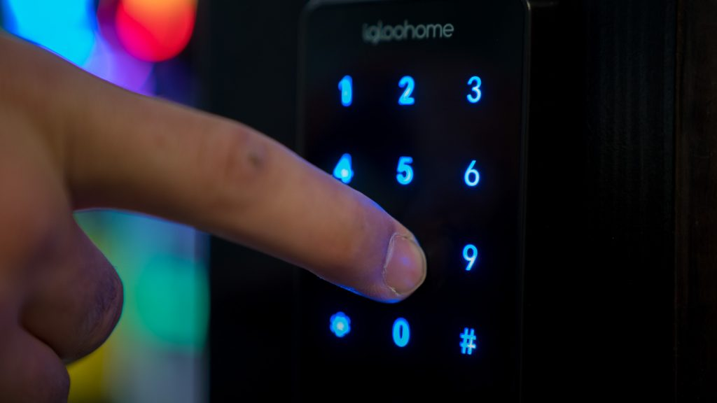 igloohome's smart lock provides security with app or touchscreen keypad access.