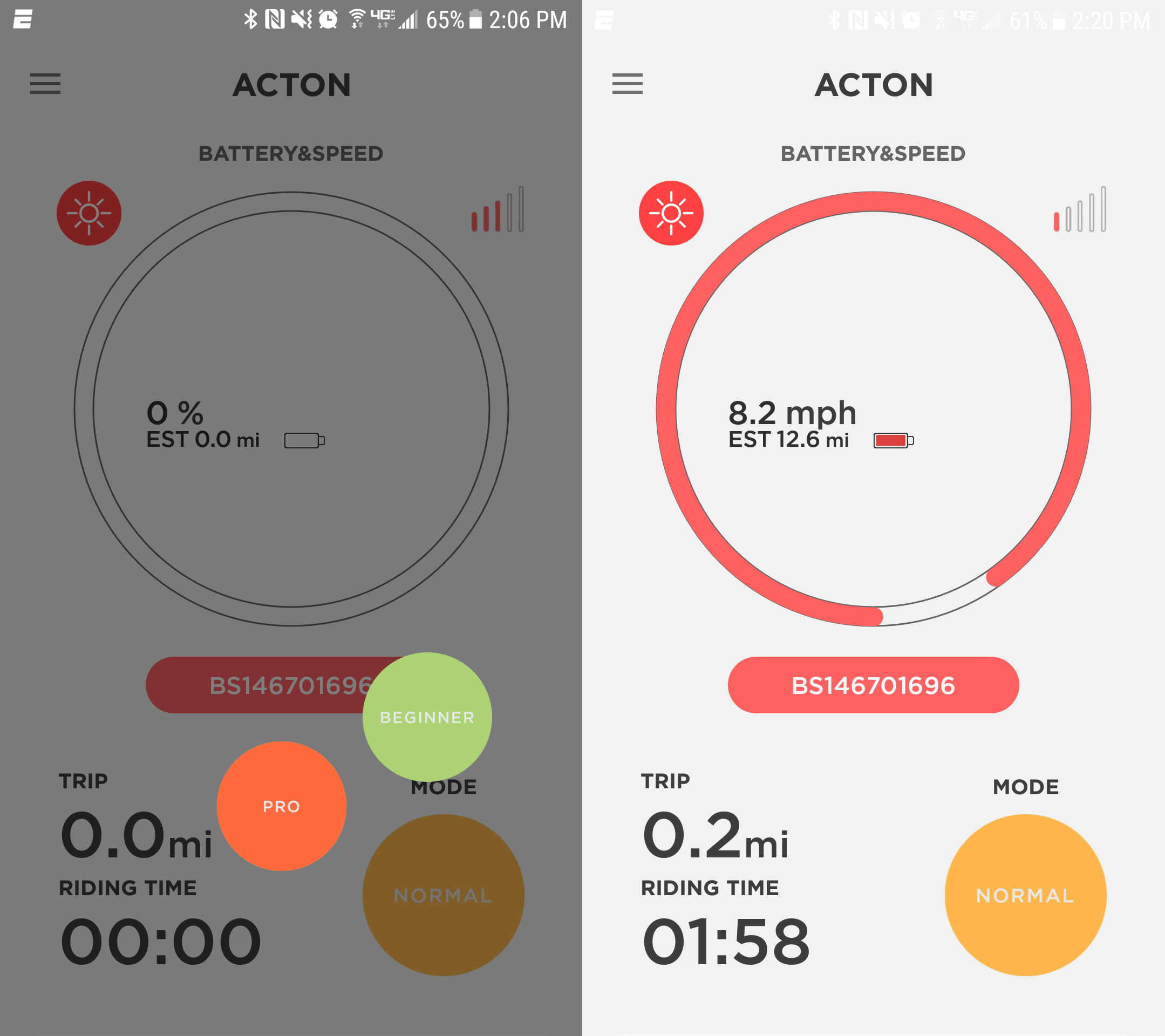 The ACTON app allows users to monitor their electric skateboard speed, distance, time, and battery via phone, or change settings.