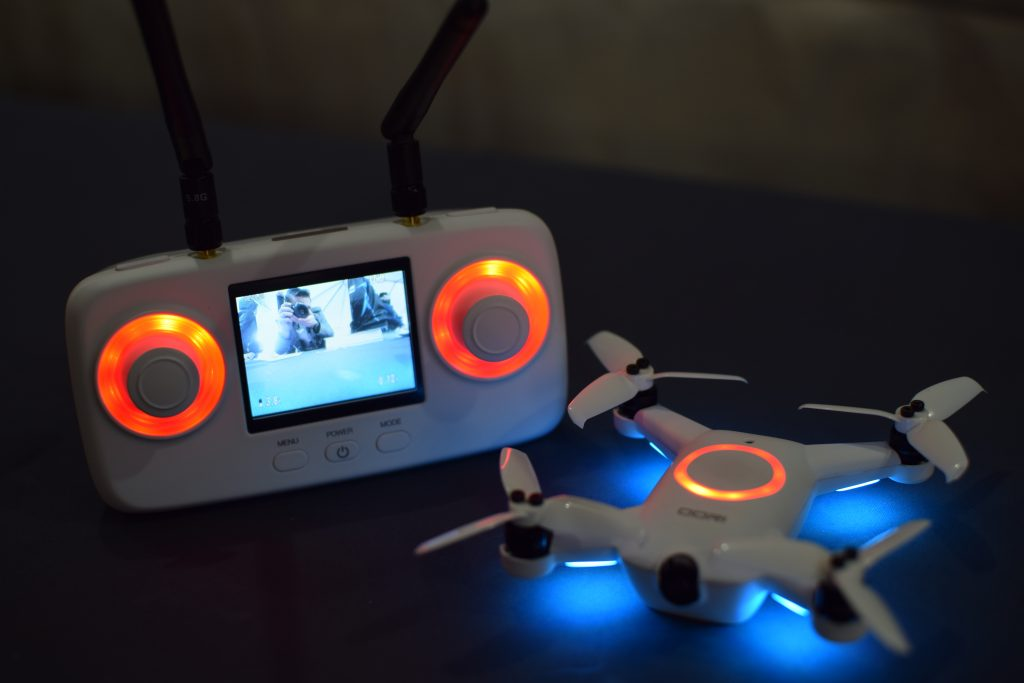 Drone, CES, Drone Rodeo. The oori drone with its controller, showcasing the First Person View capabilites.