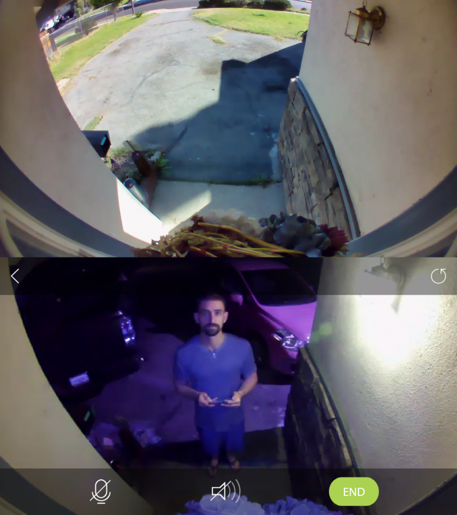 Smart home security, smart cameras, smart security, door cameras. The DoorCam feed came through clearly in day and at night, keeping the immediate entryway area safe.