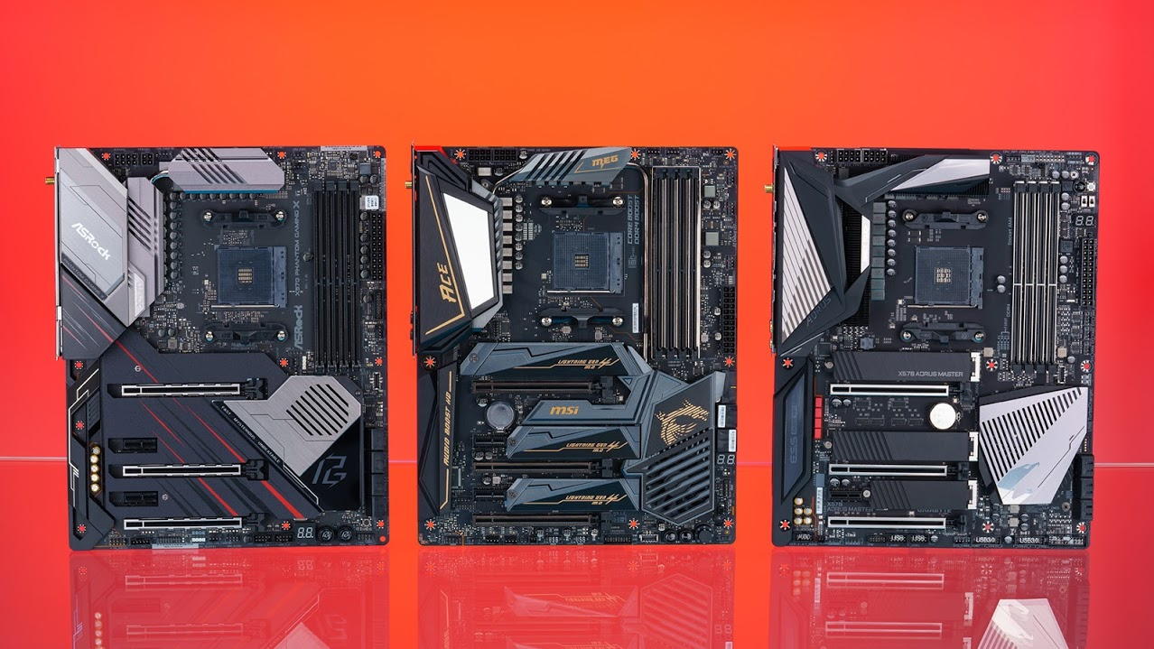 three x570 motherboards
