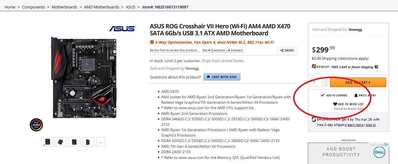 Comparing motherboards on Newegg.com is easy