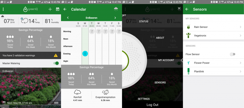 Smart Home, outdoor tech, smart irrigation controller, GreenIQ, the GreenIQ app interface including homepage, calendar, account options, and sensor settings.