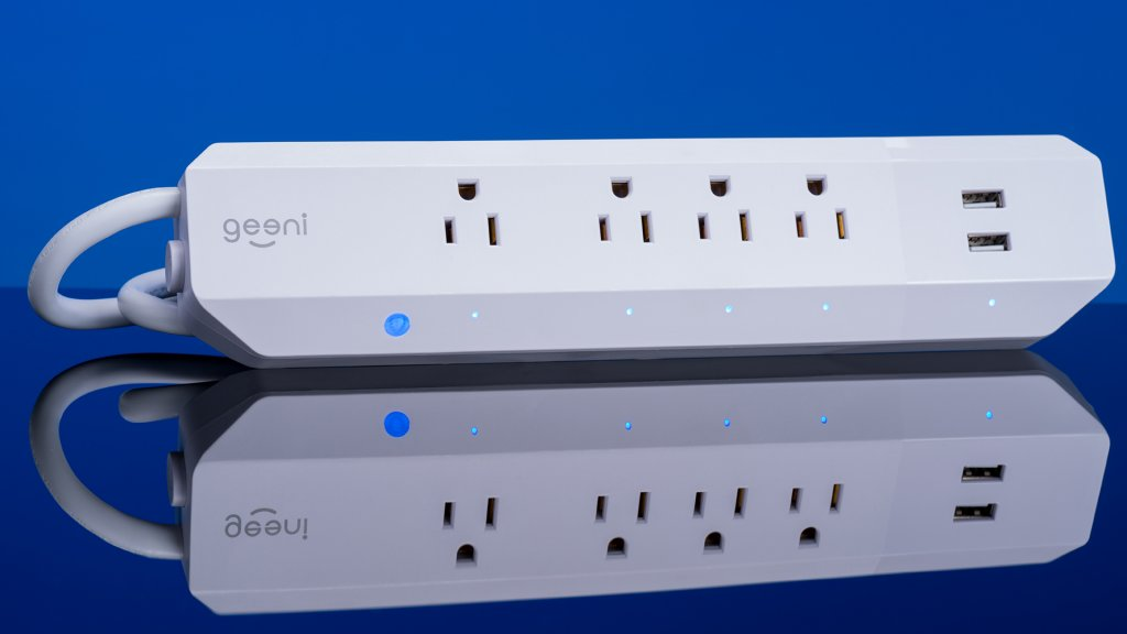 The Geeni smart light strip allows four devices to be controlled with individual schedules, as well as two USB charging ports which can also be controlled via Alexa, Google Assistant, or Cortana.