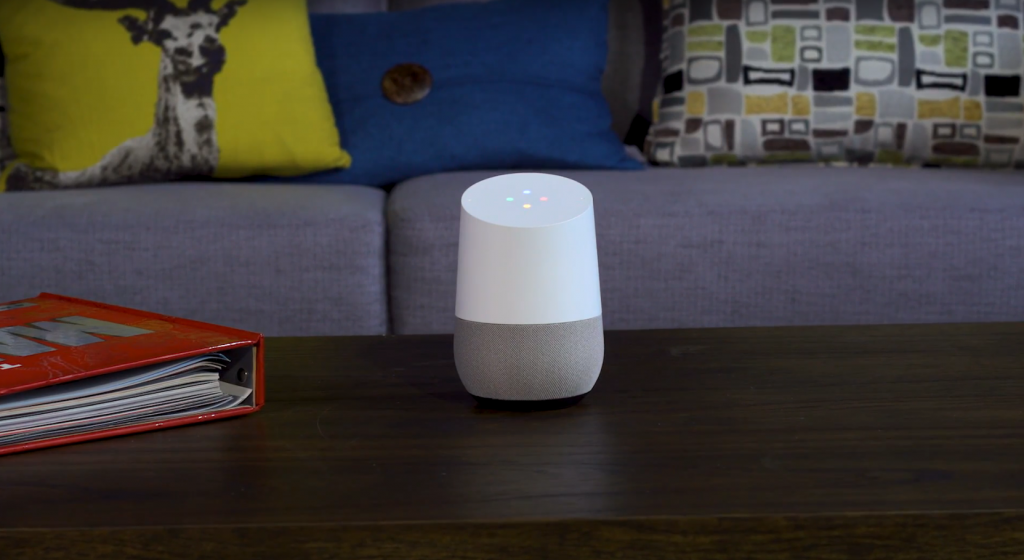 Google Home is a voice controller used as a hub for the Smart Home.