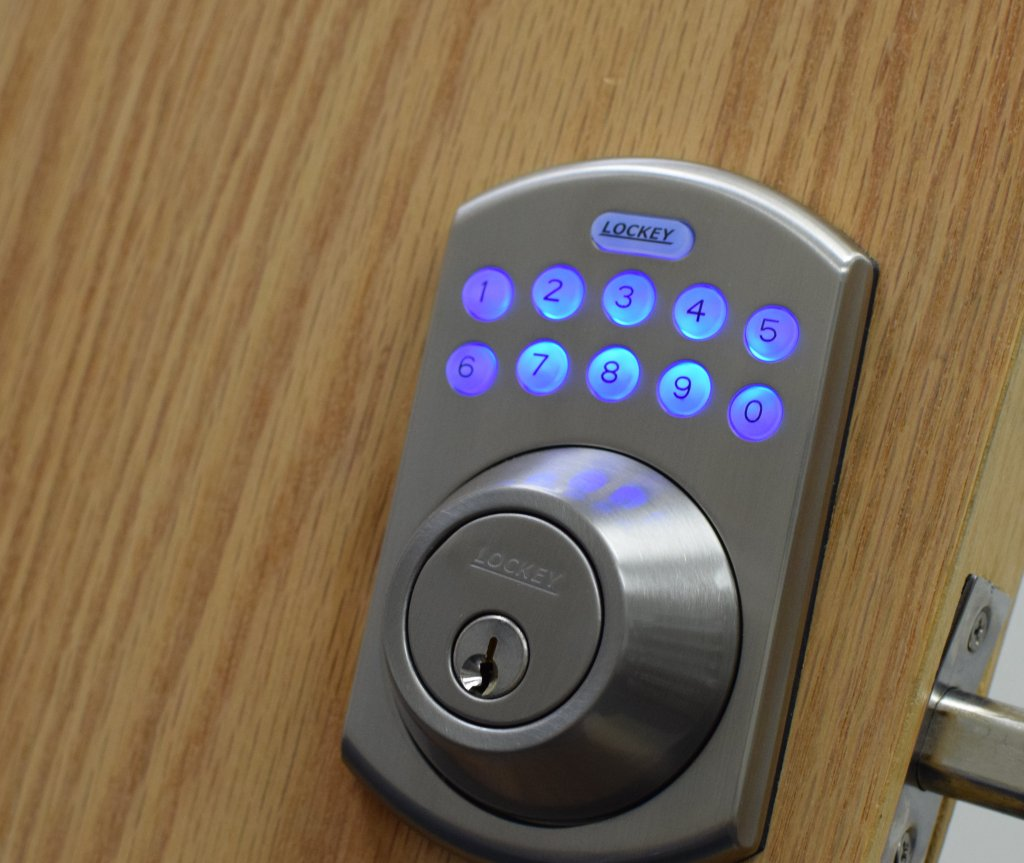 Electronic locks utilize a keypad to engage an electric motor that powers either a deadbolt or latch for keyless entry.
