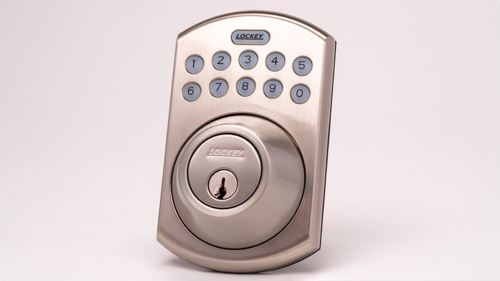 The Lockey E915SN keyless lock gives users security to assign single-use pin codes or up to six permanent codes for quick access without a physical key.
