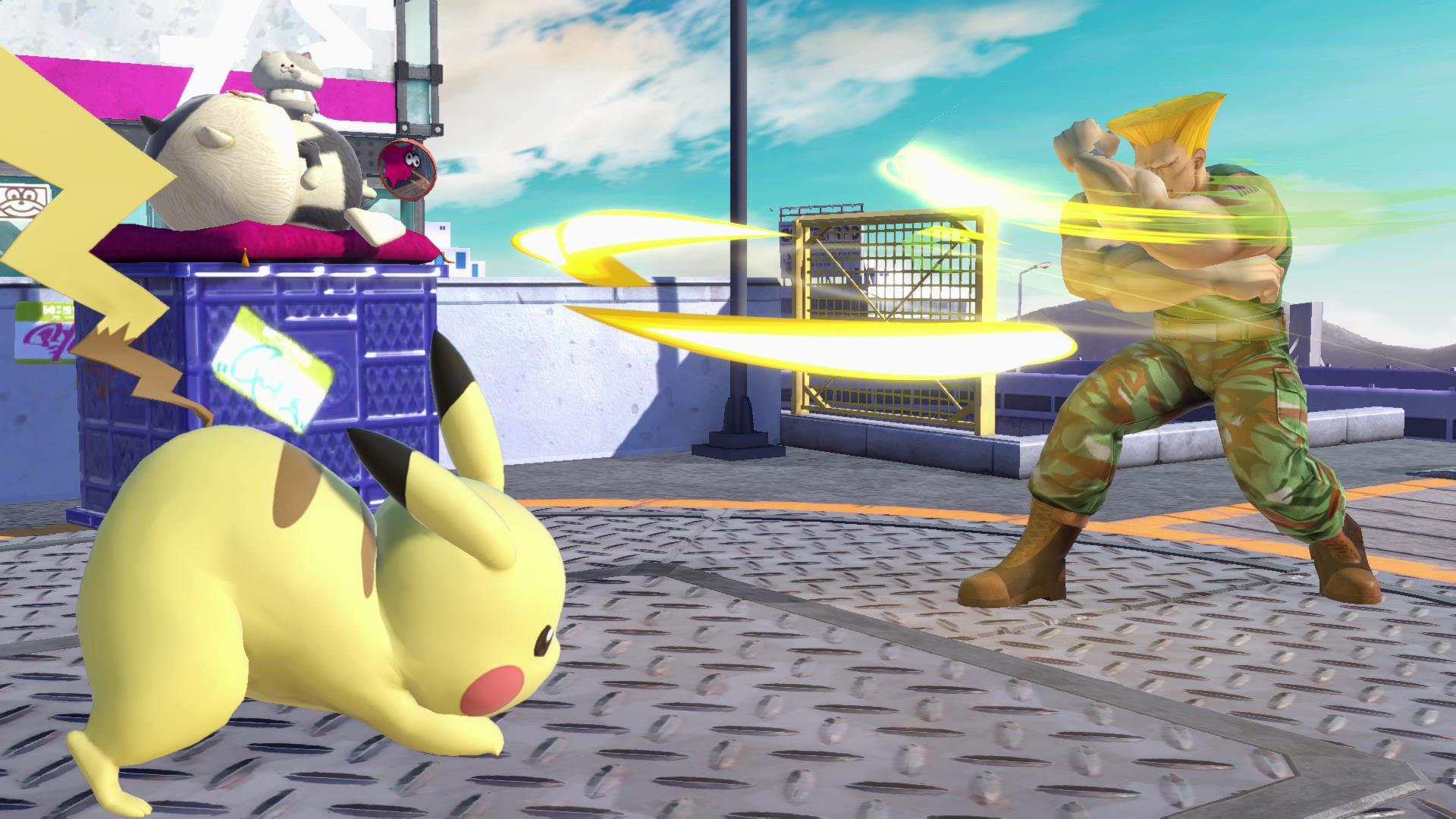 super smash bros guile pikachu