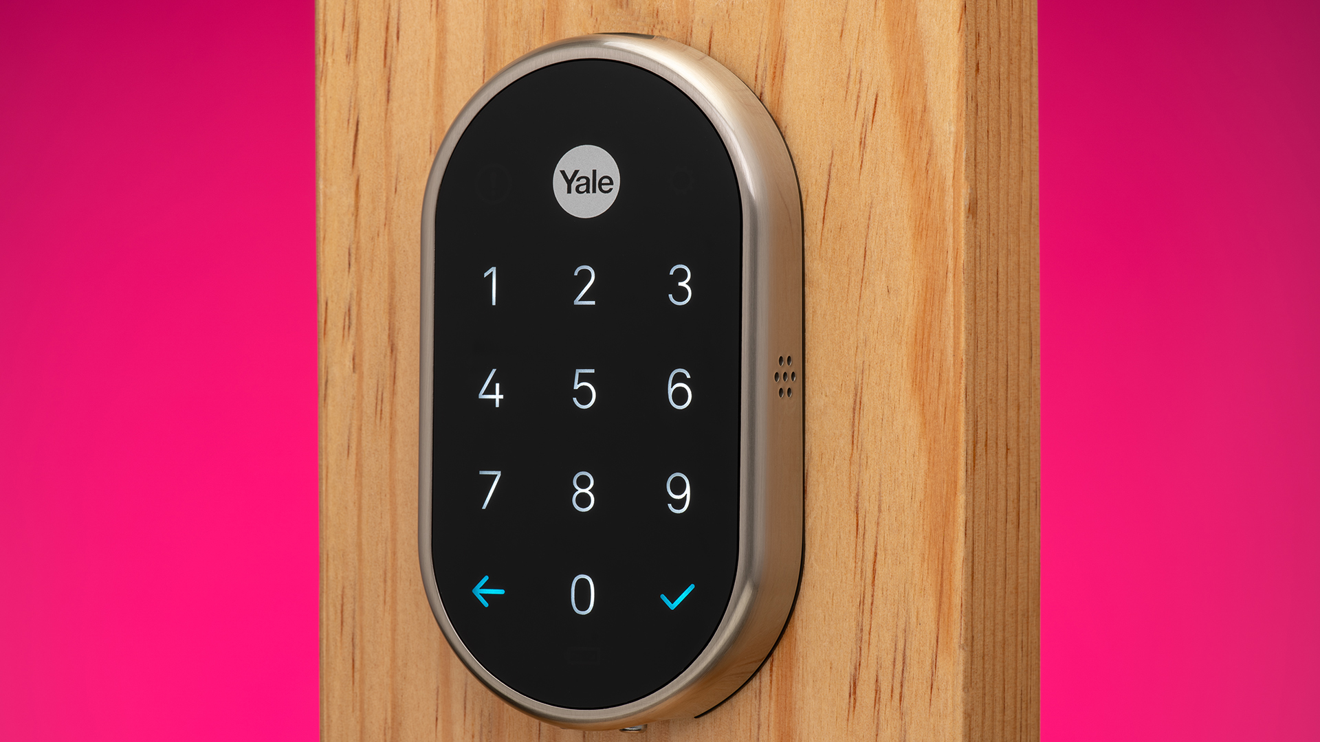 The Nest x Yale smart lock, a tamper-proof, key-free deadbolt that connects to the Nest app.