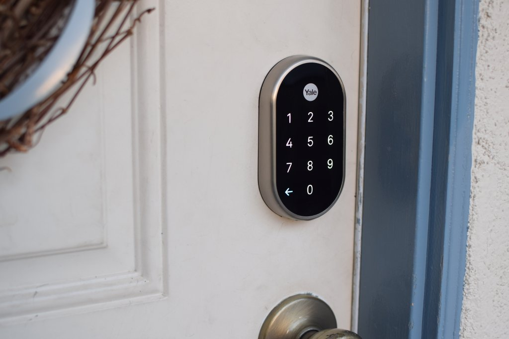 Four AA batteries power the Nest x Yale smart lock for about a year of operation, with the ability to withstand the elements.