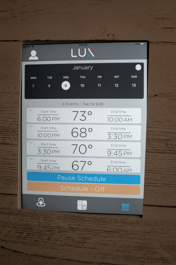 Self-learning and multi-day scheduling are done on the new LUX app to enhance comfort and save energy with the CS-1 smart thermostat.