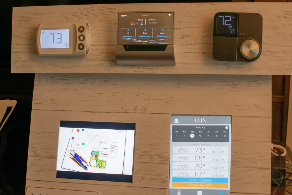 Johnson Controls & LUX smart thermostats at CES 2019 use various design methods, some with OLED touchscreen artistic flair while others have a more traditional appearance, targeting all types of Smart Home enthusiasts.