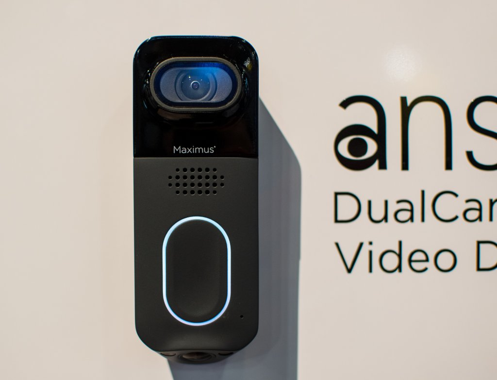The Maximus answer DualCam is the world's first smart doorbell with dual cameras, for capturing forward activity in 1080p and package activity below.