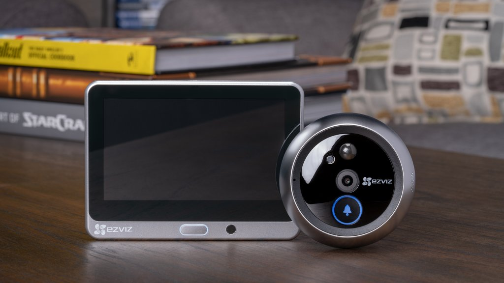 Smart peepholes like the EZVIZ DP1 allow users to view live video feeds of visitors from the peephole video camera, as well as via mobile app.