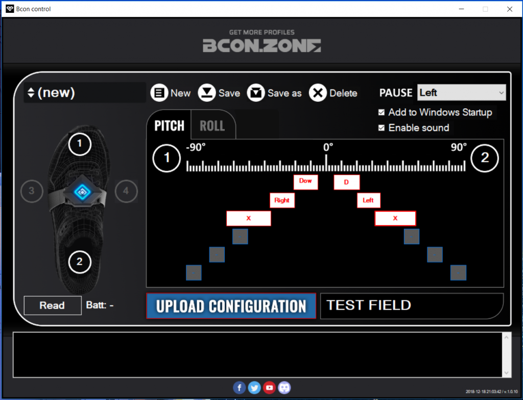 The Bcon configuration software lets users create their own control schemes and fine-tune the range of motion needed to trigger each keystroke.