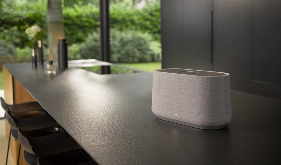 Harman Kardon Citation speakers feature Chromecast built-in for easy integration into a Google Home-controlled wireless home audio system.