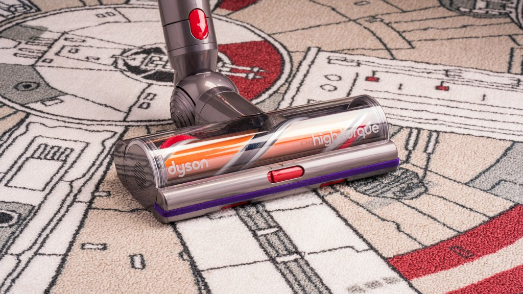The Torque Driver head included with the Dyson V11 cordless vacuum contains the DLS sensor, which changes the motor speed when switching between hard floors and carpet.