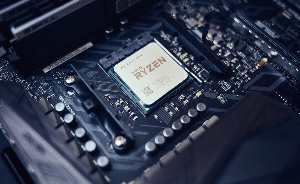 AMD Ryzen 1800X CPU installed in PC motherboard.