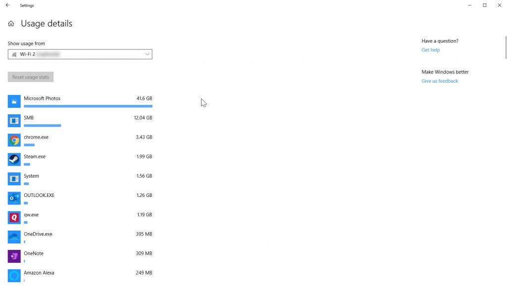 Data usage per app page