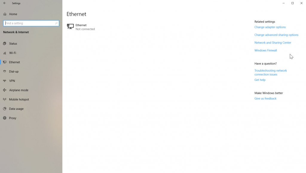 Ethernet connection page