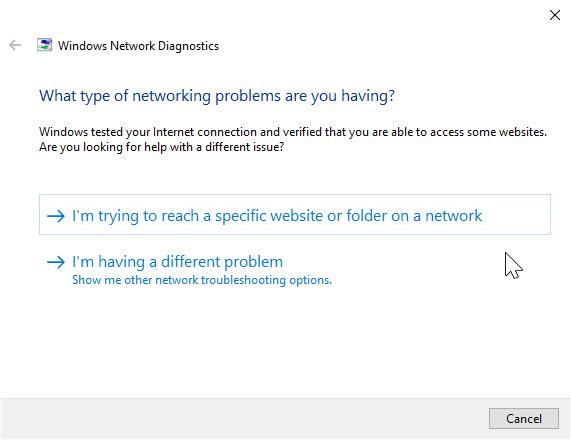Network Diagnostics page