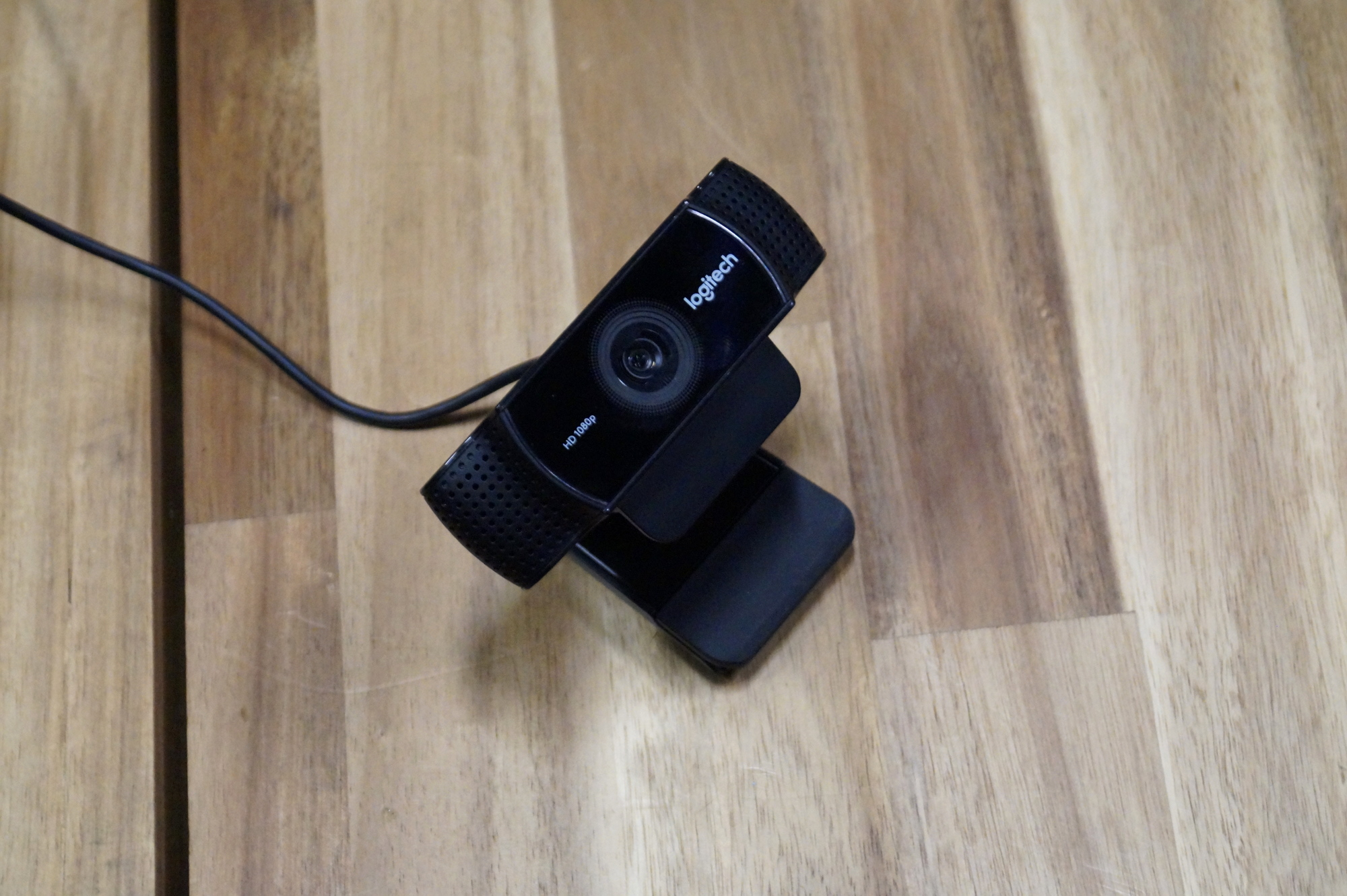 logitech webcam on table in newegg studios