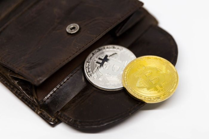 Cryptocurrency in a leather wallet