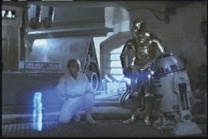 R2D2 projecting Princess Leia