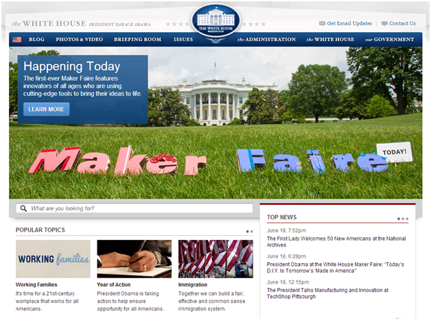 Whitehouse.gov features its first-ever White House Maker Faire on its homepage.