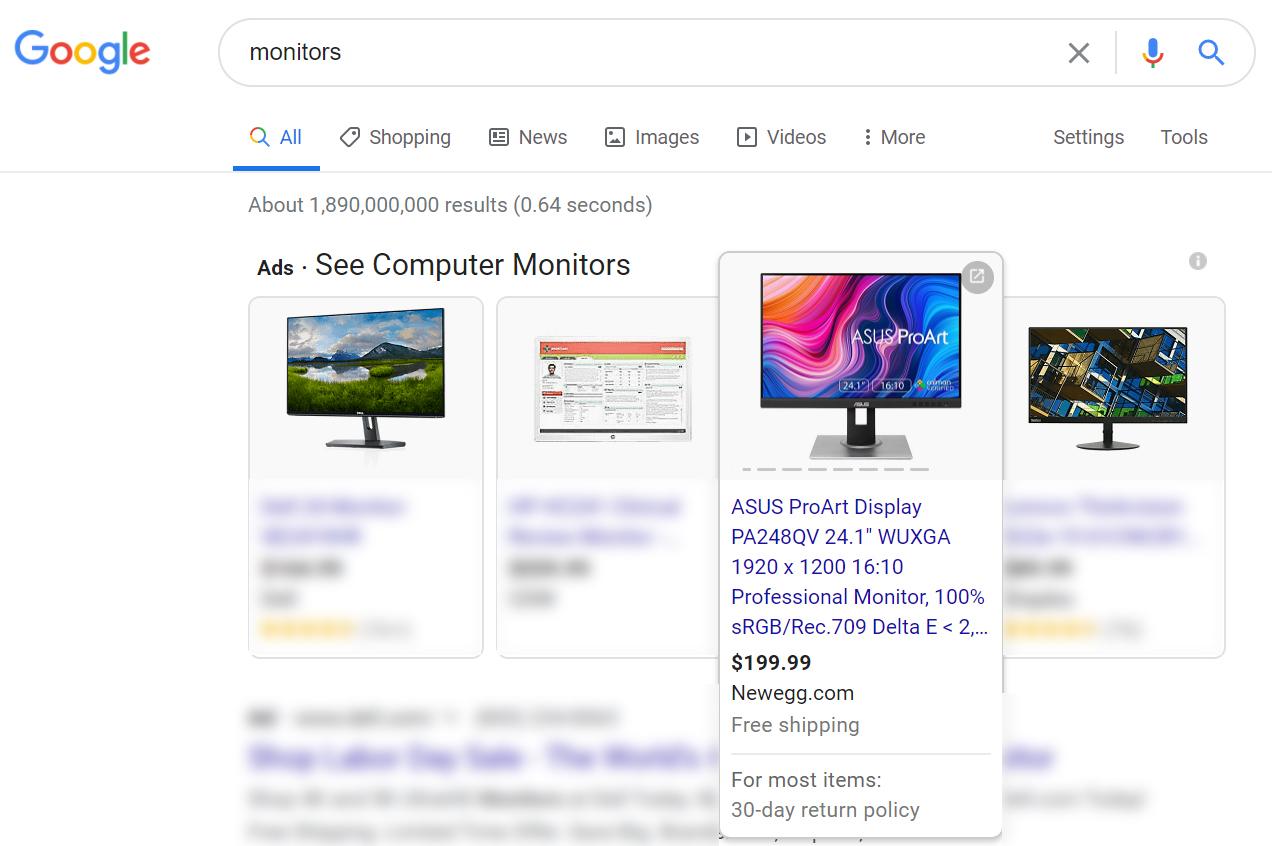 Newegg monitor search engine image
