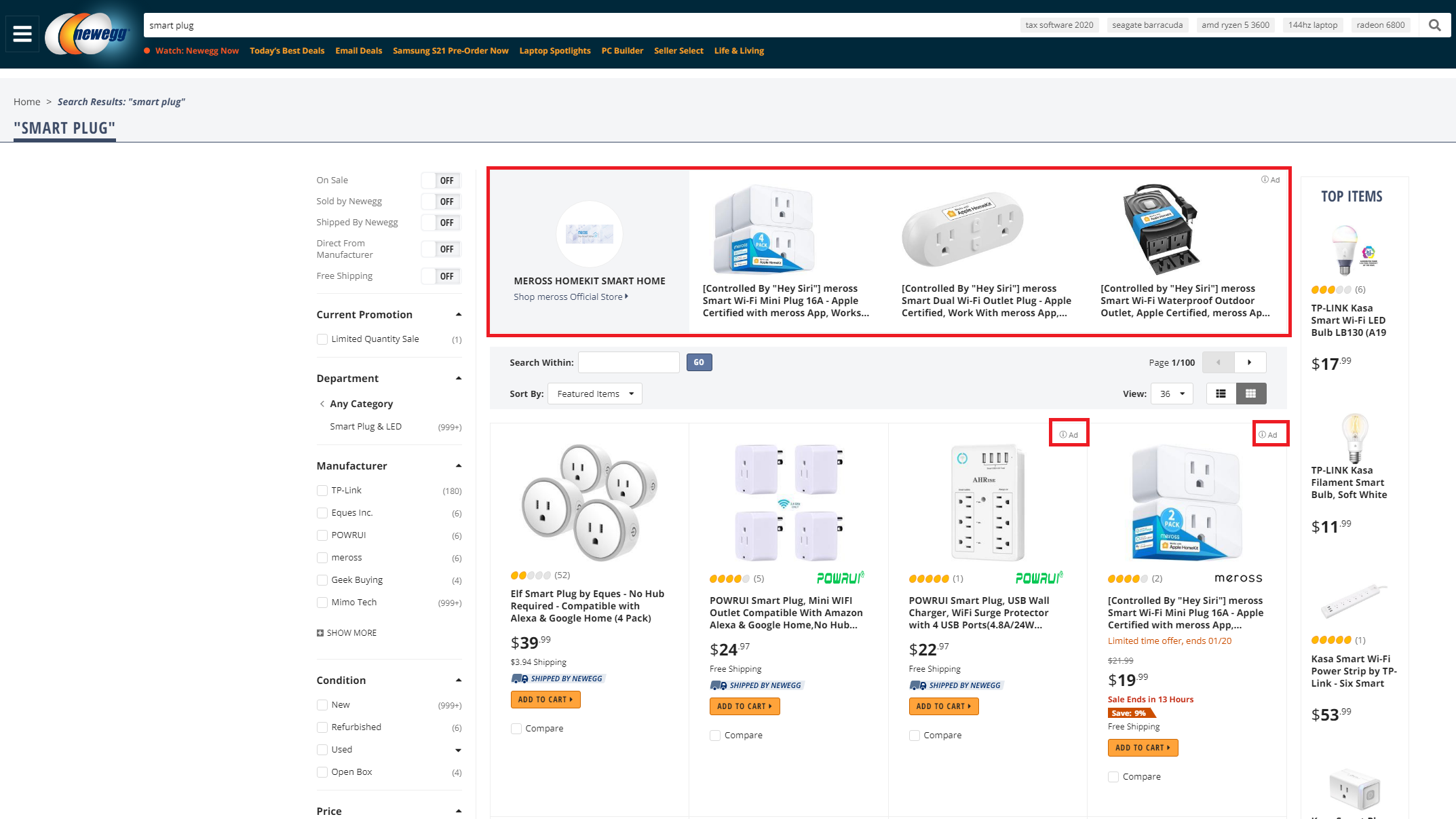 SPA Banner and Ad on Newegg